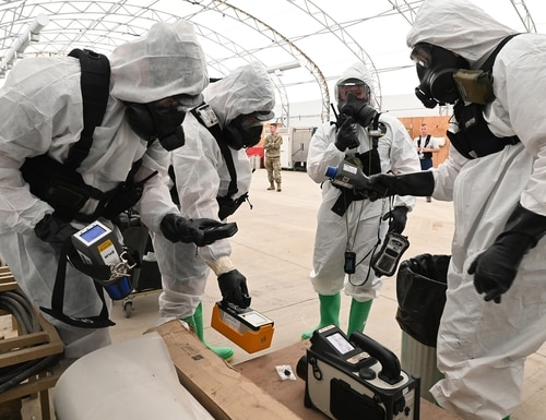 North Dakota National Guard members use hazardous material detection equipment during exercise Vigilant Guard at the North Dakota Air National Guard Base, Fargo, N.D., Aug. 4, 2020. (Chief Master Sgt. David H Lipp/Air National Guard)