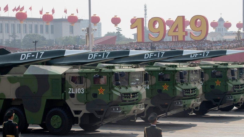 Chinese military vehicles carrying DF-17 roll during a parade to commemorate the 70th anniversary of the founding of Communist China in Beijing on Oct. 1, 2019. (Ng Han Guan/AP)