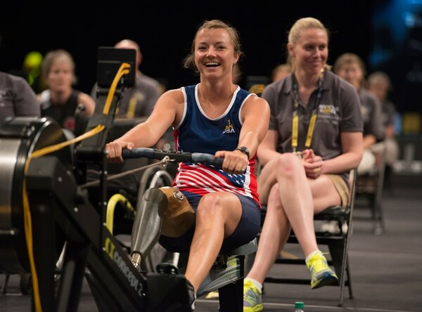 U.S. Air Force Capt. Christy Wise competes in rowing during Invictus Games 2016 at the ESPN Wide World of Sports complex at Walt Disney World, Orlando, Fla., May 9, 2016. The Invictus Games are the United Kingdom's version of the Warrior Games, bringing together wounded veterans from 14 nations for events including track and field, archery, wheelchair basketball, road cycling, indoor rowing, wheelchair rugby, swimming, sitting volleyball and a driving challenge. (DoD photo by Roger Wollenberg/Released)