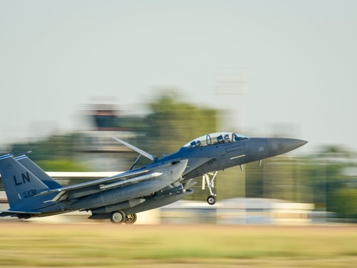 A U.S. Air Force F-15E Strike Eagle lands at Incirlik Air Base, Turkey, in November 2015. The deteriorating relationship between the U.S. and Turkey has led to concerns about the nuclear weapons reportedly housed there. (Airman 1st Class Cory Bush/Air Force)