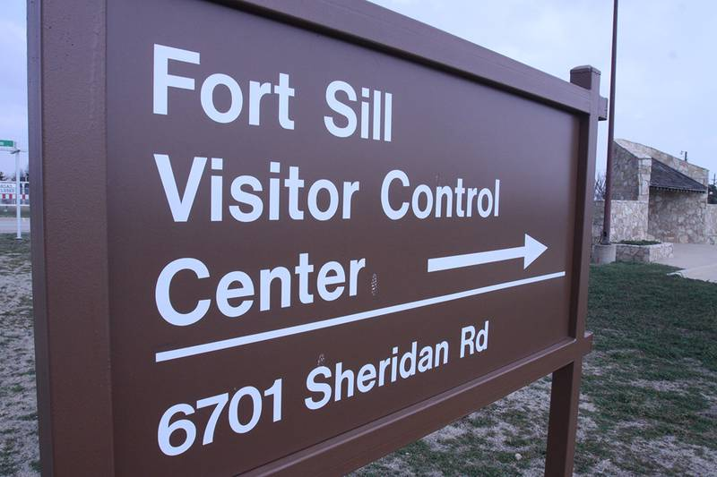 The Visitor Control Center is just behind the Bentley Gate welcome sign on Fort Sill.