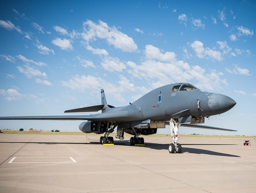 A B-1 Lancer experienced an in-flight emergency June 1, 2018, and landed safely at Hickam Air Force Base, Hawaii. Pictured: A B-1 Lancer is on display May 27, 2018, during the Cannon Air Force Base Air, Space, and Tech Fest at Cannon Air Force Base, N.M. (Airman 1st Class Vernon R. Walter III/Air Force)