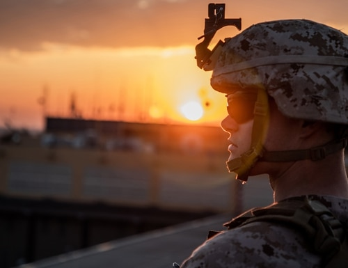 A U.S. Marine with 2nd Battalion, 7th Marines, assigned to the Special Purpose Marine Air-Ground Task Force-Crisis Response-Central Command (SPMAGTF-CR-CC) 19.2, stands post during the reinforcement of the Baghdad Embassy Compound in Iraq, Jan. 4, 2020. (Sgt. Kyle C. Talbot/Marine Corps)