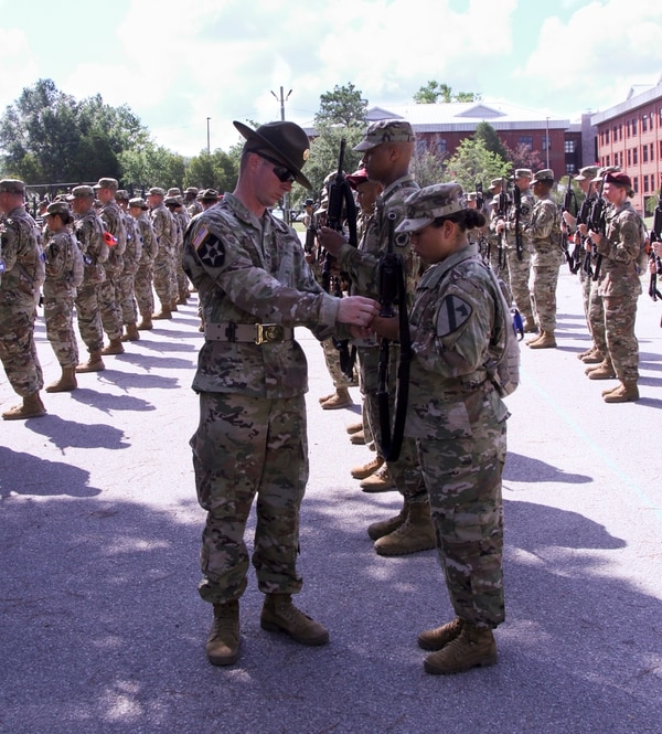 Drill sergeant leaders conduct a demonstration of Inspection Arms to drill sergeant candidates at Fort Jackson, S.C. (Spc. Tynisha L. Daniel/Army)