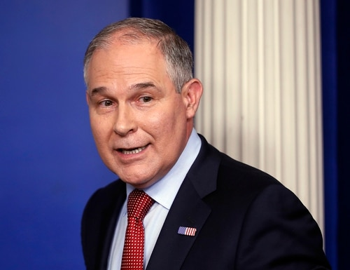 In this June 2, 2017 file photo, EPA Administrator Scott Pruitt looks back after speaking to the media during the daily briefing in the Brady Press Briefing Room of the White House in Washington. (Pablo Martinez Monsivais/AP)