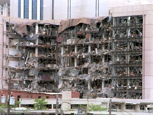 OKLAHOMA CITY, OK - APRIL 20: The north side of the Alfred Murrah Federal Building in Oklahoma City shows the devastation caused by a car bomb that was detonated early 19 April. The death toll now stands at 31, with approximately 200 missing and 200 injured. AFP PHOTO (Photo credit should read BOB DAEMMRICH/AFP/Getty Images)