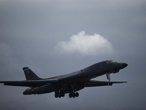 A B-1B Lancer assigned to the 9th Expeditionary Bomb Squadron takes off from Orland air force station, Norway, Feb. 26. (Airman 1st Class Colin Hollowell/Air Force)