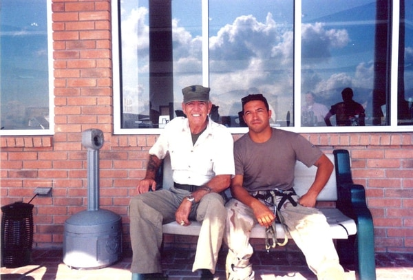 Retired Master Sgt. Michael Maroney photographed with R. Lee Ermey, at left. (Photo courtesy of Retired Master Sgt. Michael Maroney)