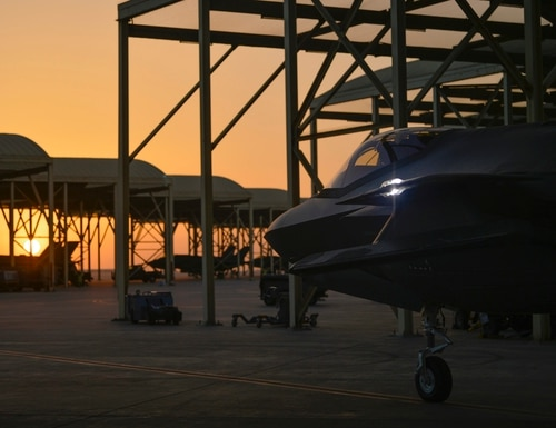 A U.S. Air Force F-35A assigned to the 4th Expeditionary Fighter Squadron prepares to taxi and take off from Al Dhafra Air Base, United Arab Emirates, on April 24, 2019. (Staff Sgt. Chris Drzazgowski/U.S. Air Force)