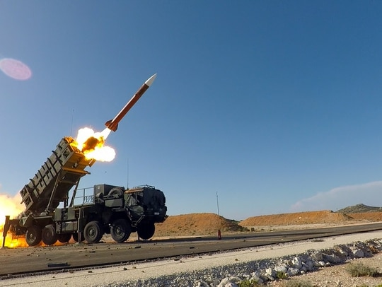 A Patriot missile launches during a live-fire drill. (Anthony Sweeney/U.S. Army)