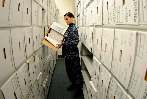 Visits to Navy Personnel Support detachments to view paper records could soon become a thing of the past as the Navy rolls out online and app-based capabilities to manage your records and careers. (MC1 Jennifer R. Hudson/Navy)