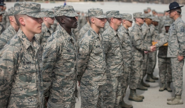 Gour Maker, a trainee at Air Force basic military training, stands in formation at Joint Base San Antonio-Lackland, Texas. (Airman 1st Class Dillon Parker/Air Force)