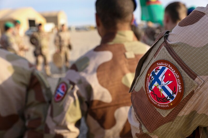 Norwegian soldiers of the outgoing Norwegian ROTO 5 Battalion conduct a transfer of authority ceremony with the incoming ROTO 6 Battalion at Al Asad Air Base, Iraq, Feb. 15, 2020. (Spc. Derek Mustard/Army)