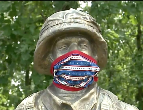 Residents of Bloomfield, Wisconsic, raised nearly $40,000 to raise a statue honoring service members. (Screenshot via Fox 6)