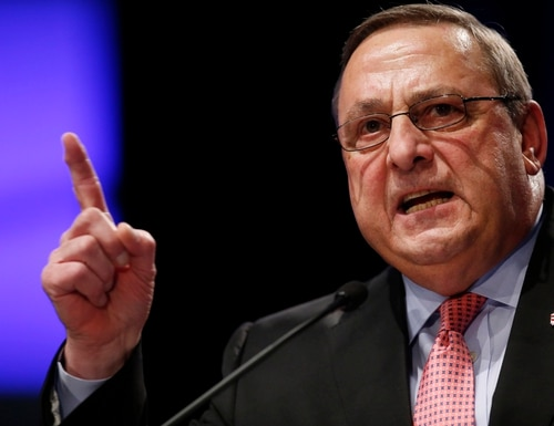 FILE- In this Jan. 7, 2015 file photo, Republican Gov. Paul LePage delivers his inauguration address in Augusta, Maine. LePage's contentious proposal to tax nonprofits has sparked a fiery debate in Maine over what impact nonprofits have on their communities and whether they should have to shoulder the costs for municipal services they consume. (AP Photo/Robert F. Bukaty, file)