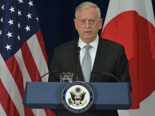 U.S. Defense Secretary Jim Mattis takes part in a joint press conference with Japan's, foreign minister, Taro Kono, and Defense Minister Itsunori Onodera at the State Department on August 17, 2017. (Mandel Ngan/AFP/Getty Images)