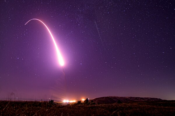 This image taken with a slow shutter speed and provided by the U.S. Air Force shows an unarmed Minuteman III intercontinental ballistic missile test launch early Tuesday, Oct. 2, 2019, at Vandenberg Air Force Base, Calif. (Staff Sgt. J.T. Armstrong/U.S. Air Force via AP)