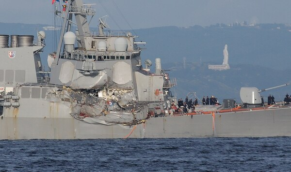 The warship Fitzgerald suffered catastrophic damage both below the water and above it, where the ACX Crystal commercial vessel directly struck the skipper's quarters while he slept on June 17, 2017. (U.S. Navy photo)