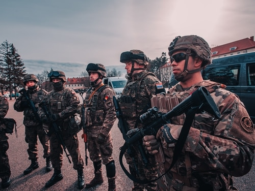 Multinational soldiers assigned to NATO Battle Group Poland pictured in Gizycko, Poland, Feb. 19, 2020. (Sgt. Timothy Hamlin/Army)