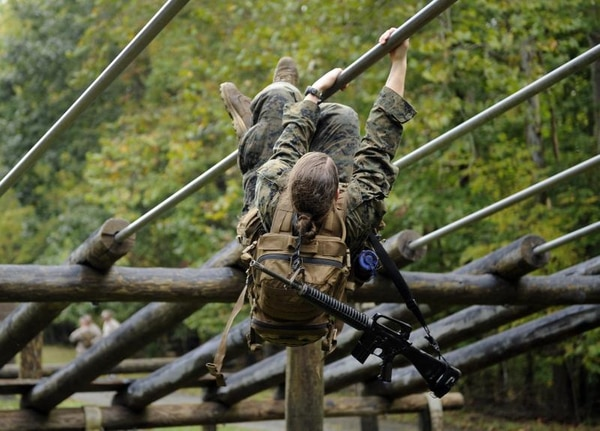 Female Marines taking the Combat Endurance Test, the first event in the Infantry Officer Course at Quantico, Virginia, in 2012. (H. Darr Beiser, USA TODAY staff)