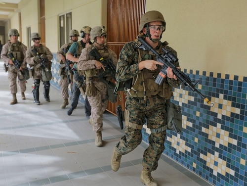 State Department officials had requested at 10-Marine security detachment to guard their new facility in Taiwan. (Staff Sgt. Vitaliy Rusavskiy/Marine Corps)