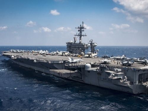 The aircraft carrier USS Carl Vinson (CVN 70) transits the South China Sea on March 2, 2017. (MC2 Z.A. Landers/Navy)