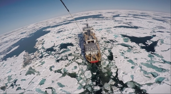 The Coast Guard Cutter Healy breaks through ice in the Arctic circle, July 14, 2015. (U.S. Coast Guard)