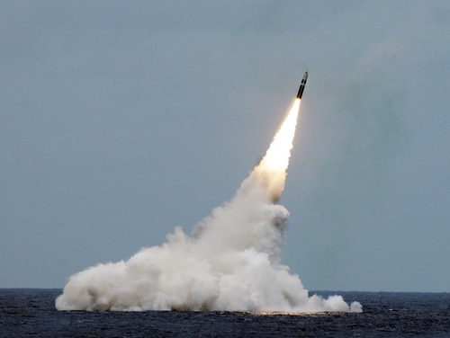 An unarmed Trident II D5 missile launches from the U.S. Navy submarine Maryland off the coast of Florida. (John Kowalski/U.S. Navy)