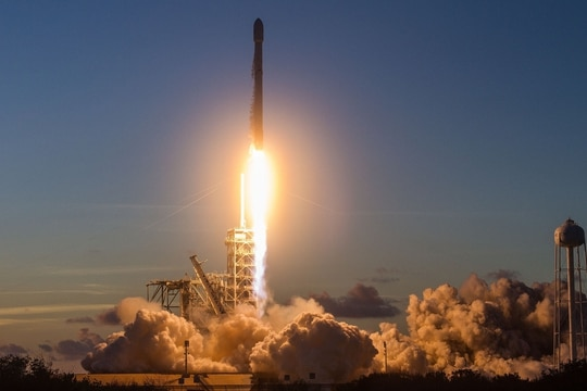 The contracts will support more than 30 heavy lift launches planned between fiscal 2022 through 2027. (SpaceX)