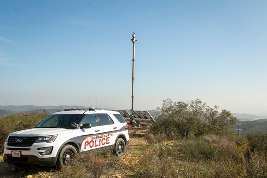 Anduril's Lattice Sentry Towers provide autonomous perimeter defense at Marine Corps Air Station Miramar, allowing base security to patrol busier areas. (Lance Cpl. Jose GuerreroDeLeon/Marine Corps)
