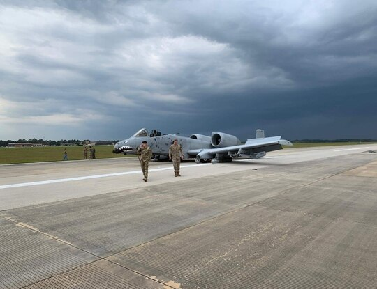 The A-10C sitting on its belly on the runway at Moody AFB. (Photo courtesy of Air Force amn/nco/snco Facebook)