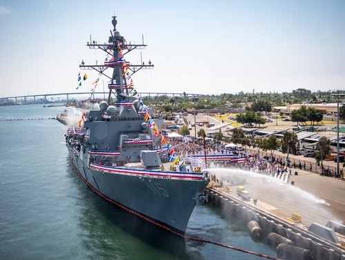 The Arleigh Burke-class guided-missile destroyer Rafael Peralta is shown during its commissioning ceremony at Naval Air Station North Island in San Diego, in July. (Spc. 2nd Class Zackary Alan Landers/Navy)