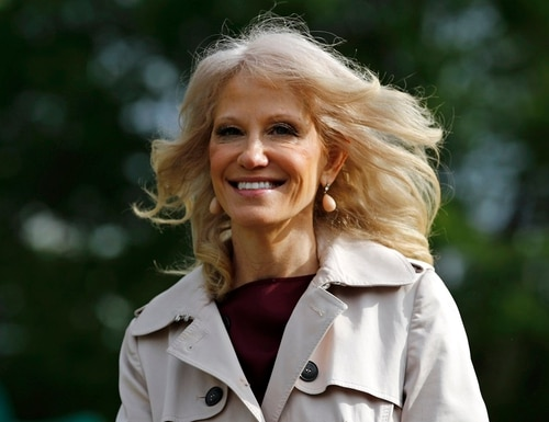 Kellyanne Conway, one of President Trump's most trusted aides, walks outside the White House in Washington on May 5. President Trump announced her appointment to the U.S. Air Force Academy Board of Visitors Tuesday. (Patrick Semansky/AP)