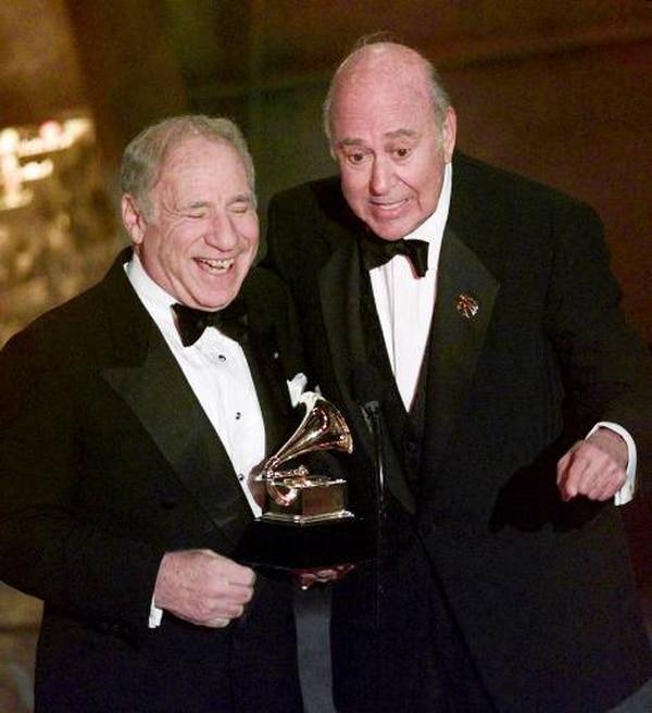 Mel Brooks, left, and Carl Reiner accept their award for best spoken comedy album,