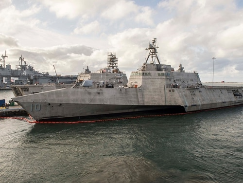 The Independence-variant littoral combat ship Gabrielle Giffords pierside at Naval Base San Diego. (MC3 Abby Rader/U.S. Navy)