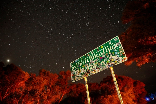 In this July 22, 2019, photo, a sign advertises state route 375 as the Extraterrestrial Highway, in Crystal Springs, Nev. The road boarders the Nevada Test and Training Range, the location of Area 51.(John Locher/AP)