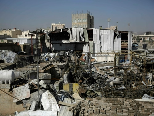This April 10, 2019, file photo shows a view of the site of an airstrike by Saudi-led coalition in Sanaa, Yemen. (Hani Mohammed/AP)
