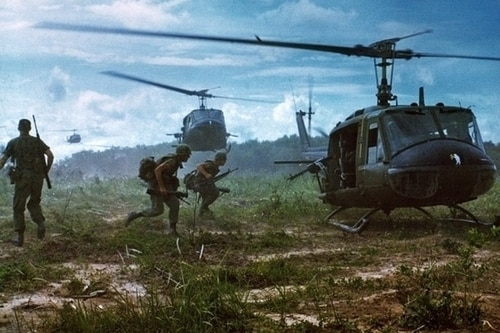 Army UH-1D Iroquois helicopters airlift members of the 2nd Battalion, 14th Infantry Regiment from the Fihol Rubber Plantation to a new staging area during Operation Wahiawa, a search-and-destroy mission conducted by the 25th Infantry Division northeast of Cu Chi, Vietnam. (Sgt. 1st Class James K.F. Dung/Army)