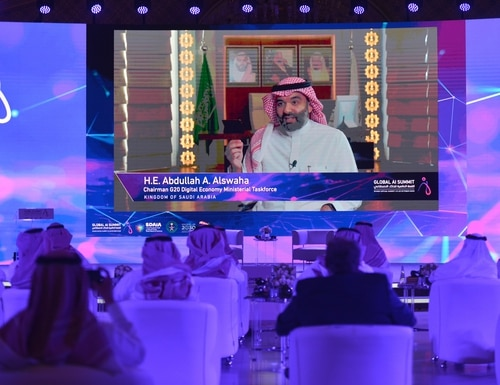 The Saudi Data & AI Authority organized the Global AI 2020 Summit in Riyadh last October, bringing together stakeholders from public sector, academia and private sector, including technology companies, investors, entrepreneurs and startups, to shape the future of artificial intelligence. (FAYEZ NURELDINE/AFP via Getty Images)