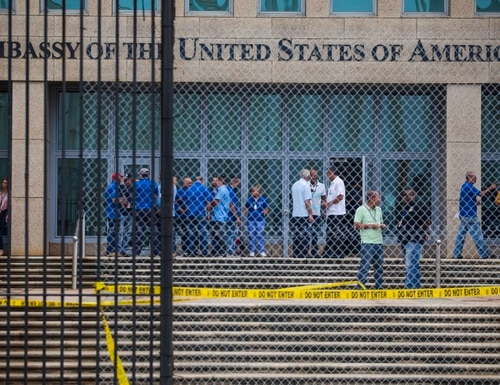 Staff stand within the United States embassy facility in Havana, Cuba, Friday, Sept. 29, 2017. (Desmond Boylan/AP)