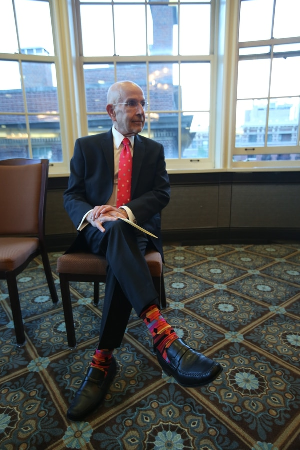 Peter Awn was known to be an impeccable dresser, and he was particularly infamous for his collection of brightly colored socks. (Bruce Gilbert/Columbia University)