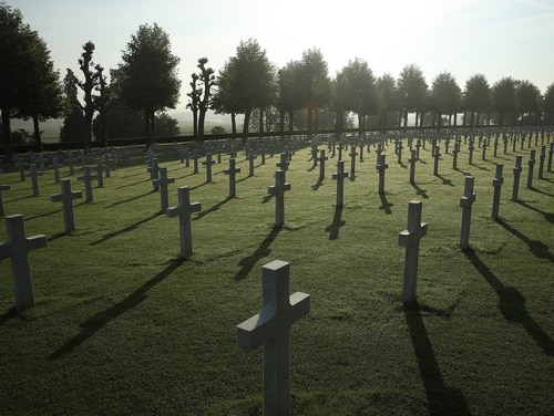 Crosses mark the graves of U.S. service members, most of them killed in the Battle of Belleau Wood, at the Aisne-Marne American Cemetery on May 25, 2018, in France. (Sean Gallup/Getty Images)