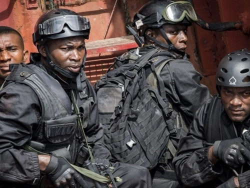 Members of the Cameroonian Armed Forces participate in an anti-piracy visit, board, search and seizure drill on board a Nigerian training vessel during exercise Obangame Express 2019 in Lagos on March 18. West African piracy bedevils many of the military forces in the region. (Mass Communication Specialist 1st Class Kyle Steckler/Navy)