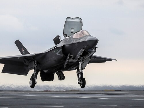 The first-ever shipborne rolling vertical landing has been carried out with an F-35B Lightning II jet conducting trials onboard the new British aircraft carrier, HMS Queen Elizabeth. (Courtesy of the British Royal Navy)