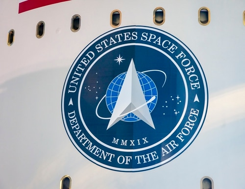 The logo of the United States Space Force is seen on the side of United Launch Alliance's (ULA's) Atlas V rocket during the roll from the Vertical Integration Facility (VIF) to the launch pad at Space Launch Complex-41 at Cape Canaveral Air Force Station, Florida. (United Launch Alliance)