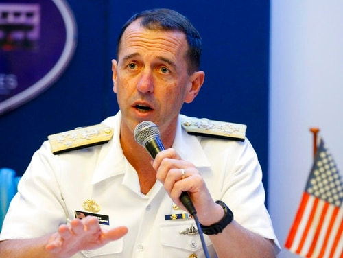 Adm. John Richardson, Chief of Naval Operations, speaks during a news conference with Philippine Armed Forces Chief Gen. Carlito Galvez Jr., following their Oct. 29 meeting at Camp Aguinaldo in suburban Quezon city, northeast of Manila, Philippines. (Bullit Marquez/AP)