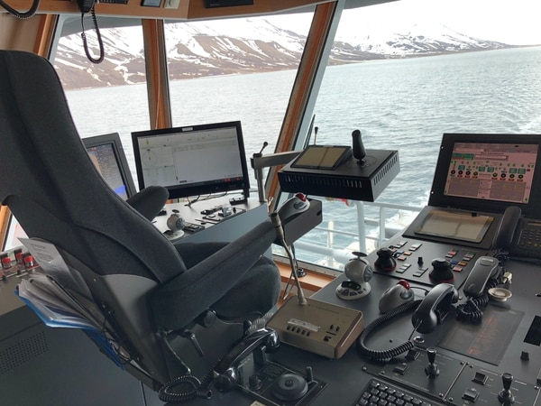 Control consoles located in the rear of the Norwegian Coast Guard vessel Harstad. (Valerie Insinna/Staff)