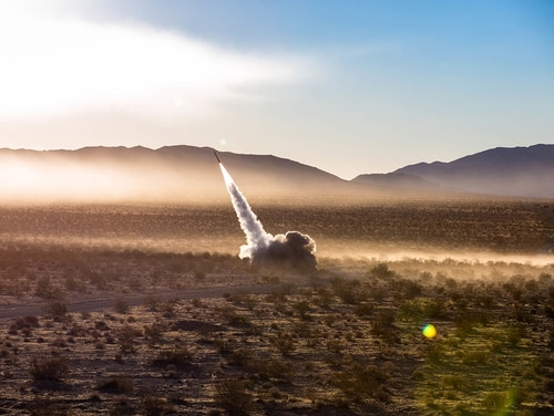 Marines launch the High Mobility Artillery Rocket System from a Guided Multiple Launch Rocket System during Operation Steel Knight aboard the Marine Corps Air Ground Combat Center, Twentynine Palms, Calif., Dec. 7, 2017. (Pfc. William Chockey/Marine Corps)