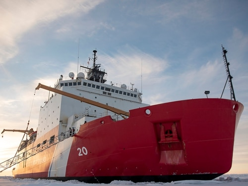 The Healy Coast Guard cutter sits in the ice about 715 miles north of Barrow, Alaska, in the Arctic. Congress and the President have agreed to fund a new icebreaker to patrol the Arctic Ocean. (NyxoLyno Cangemi / US Coast Guard)