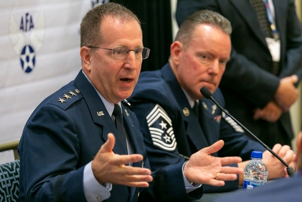 Lt. Gen. Jim Slife, commander of Air Force Special Operations Command, and Command Chief Master Sgt. Cory Olson hold a roundtable with reporters during the Air Force Association's Air, Space, Cyber conference Sept. 16 at National Harbor, Md. (Alan Lessig/Staff)
